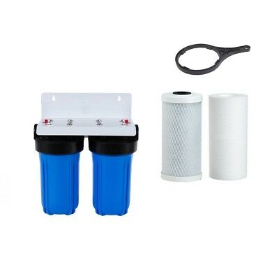 Twin Whole House Water Filter System | 10 Micron Carbon & Sediment 10' x 4.5'