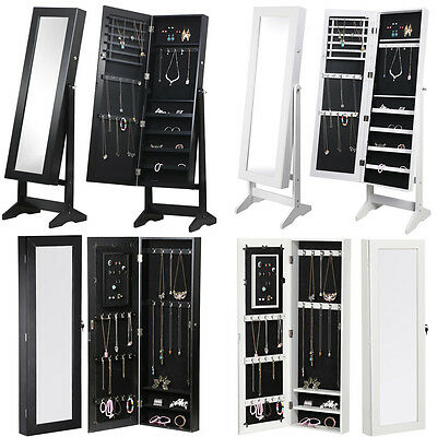 White/Black Mirror Jewellery Cabinet Makeup Storage Organiser Box Tall Stand