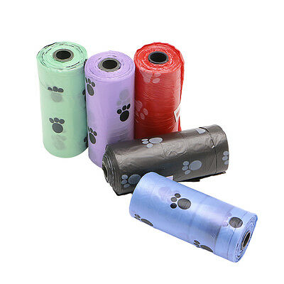 1/5/10/20 Roll Pet Dog Waste Poop Bag Poo Printing Clean-up Degradable Hot