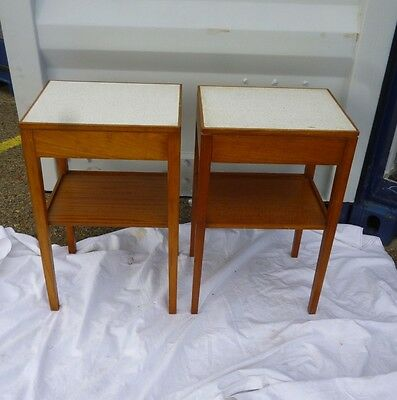 VINTAGE 1970's pair of modernist style teak BEDSIDE TABLE CABINETS by REMPLOY