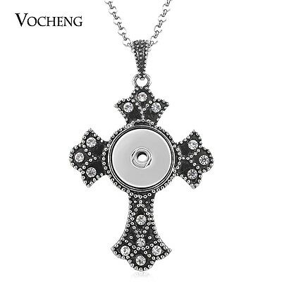 10pcs/lot Cross Necklace Vocheng Snap Jewelry Stainless Steel Chain NN-549*10