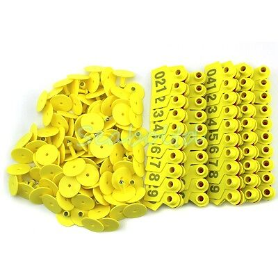 Yellow 1-100 Number Plastic Livestock Ear Tag Animal Tag for Goat Sheep Pig