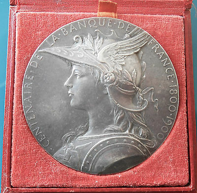 FRANCE-1900- BANQUE DE  FRANCE- LARGE & SUPERB SILVER MEDAL by ROTY-IN BOX-RARE