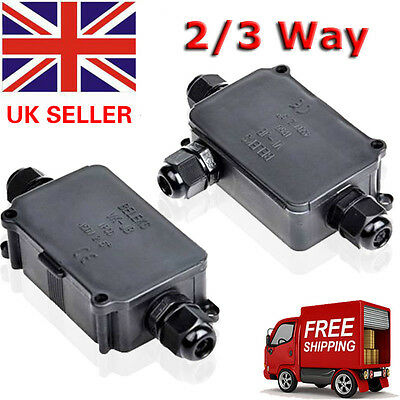 UK Mains Packs 2/3 Way Outdoor Waterproof Cable Connector Junction Box IP66 240V