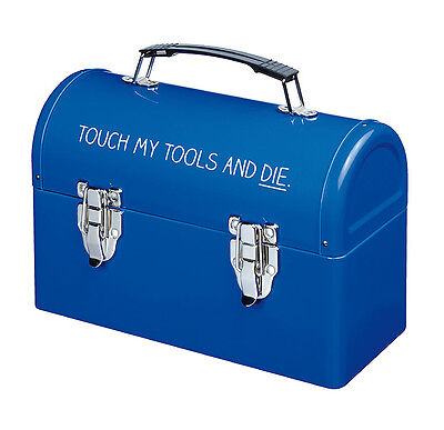 Happy Jackson Lunch / Tool Box Food Storage Container Sturdy Metal Tin Blue