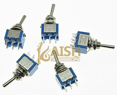 Set of 10 Blue Guitar Toggle Switches DPDT 6 Pin 3 Way ON/OFF/ON Mini Switch