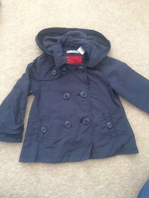 Girls Grey Navy Alone Mac . In Very Good Condition Age 4