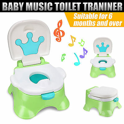 Kids Baby Toddler Potty Training Toilet Potty Seat Trainer Chair 3 in1 Music New