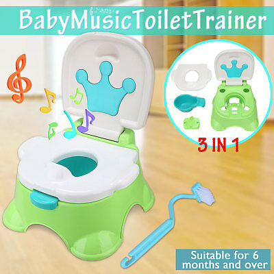 3 in1 Baby Toilet Trainer Kids Toddler Children Chair Seat Potty Music Training