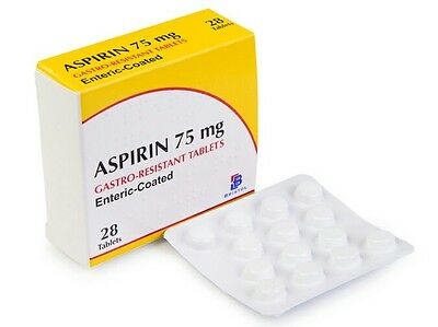 Aspirin 75mg Gastro Resistant Enteric Coated Tablets - 28 Tablets X 6
