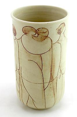 An unusual studio pottery vase. Nude woman design. Signed. Unknown potter