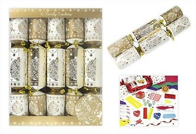 Christmas Crackers Family 10 Pack Gold Xmas Party Celebrations