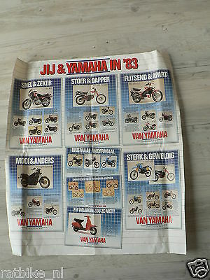 Y179 Yamaha Poster Brochure  1983 Models Dutch 6 Pages Folded Rd350Lc,xt600