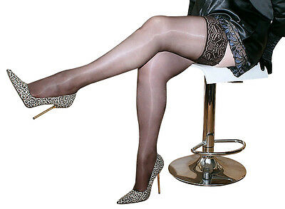 3 pairs Luxury Sheen LaceTop Hold Ups Stockings BLACK