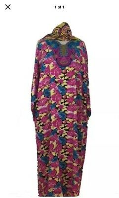 Moroccan Kaftan islamic long sleeve summer cotton Dress with long scarf