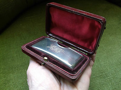 Rare Antique Curved Solid Silver Visiting Card Case 1902 In Original Leather Box