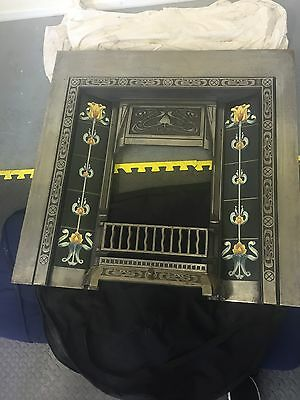 Original Art Nouveau Tiled Cast Iron Gas Fireplace