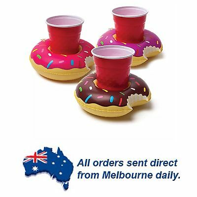 3 Pack Donuts Floating Inflatable Drink Holder Pool Party Beach