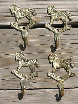 """4 SOLID BRASS ROCKING HORSE WALL MOUNT SMALL COAT HAT HOOKS 2.5"""" x 3.5"""""""