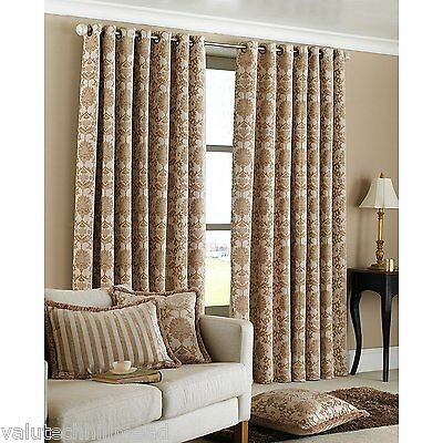 Riva Paoletti Hanover Beige Ring Top Curtains 168 x 183cm