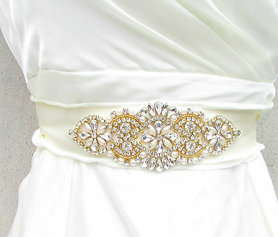 Gold Ivory Silver Pearl Bridal Belt Sash Vintage Crystal Wedding Beaded 20s 932