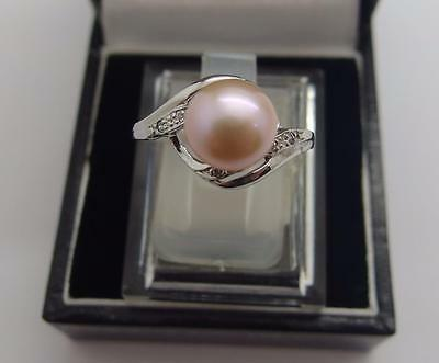 925 Sterling Silver Freshwater Cultured Peach Pearl Ring Size N 1/2 UK 7 US #57