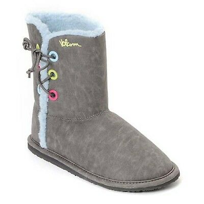 VOLCOM IN LOVE GREY/BLUE SHERPA LINED WOMEN BOOTS *BRAND NEW in BOX!!