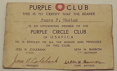 Vintage Purple Club of USAFRICA  WWII 1943
