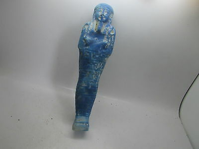 Superb ancient Egyptian faience shabti with hieroglyphs C. 664-332BC