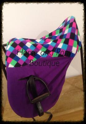 Ride On Purple and Harlequin Fleece Saddle Cover / Seat Saver