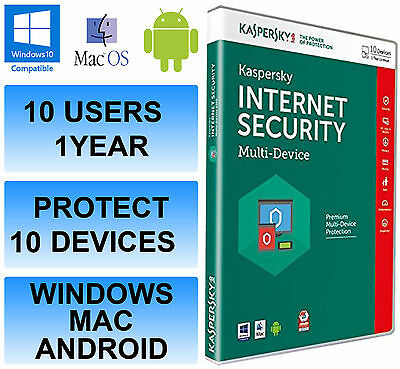 Kaspersky Internet Security Multi Device 2017 10 Users PC 1 Year Activation Key