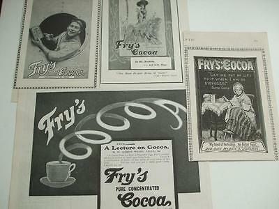 4 Original VICTORIAN ADVERTS 1898 FRY'S COCOA SAILOR OLD LADY & FASHIONABLE LADY