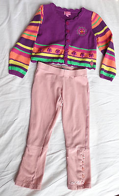 2pc set, NEW Pampolina Girls Cardigan & used VGC DKNY Leggings Age 2 Years