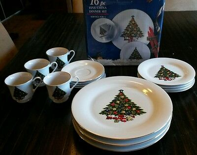 16pc Sea Gull Fine China Dinner Set Christmas Collection