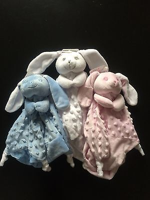 Baby Comforter Dimple Blanket Soft Toy Snuggle Bunny Rabbit Blue Pink White
