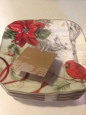 222Fifth Holiday Wishes Christmas Cardinal 4 New Appetizer / Dessert Plates