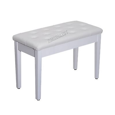 FoxHunter Wood PU Leather Piano Duet Bench Seat With Storage Compartment White