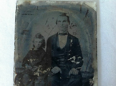 Antique Ambrotype - Father and Child- 1/6th Plate