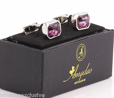 Amedeo Exclusive New Purple Silver Big Stone Rock Wedding Cufflinks Box Aec33