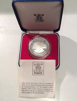St. Helena 1977 Commemorative Silver Jubilee Proof 25 Pence Crown coin boxed