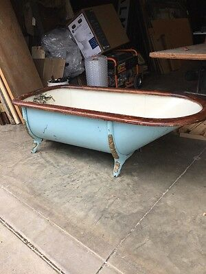 Antique Victorian Cast-Iron With Wood Ring Bathtub