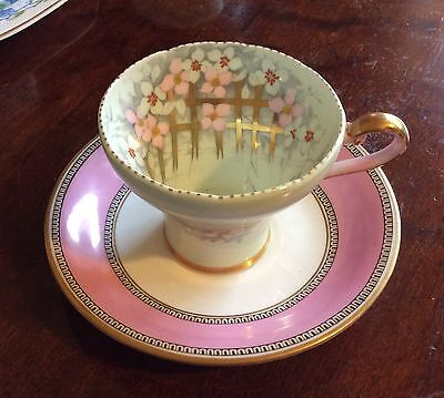 Antique Aynsley/ Grainger China England tea cup and saucer pink green floral