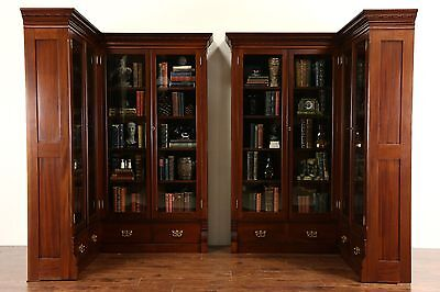 Pair 1890 Antique Mahogany Library Corner Bookcases