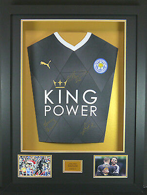 Vardy, Mahrez And Kante  Leicester Signed Shirt Framed Display With Coa