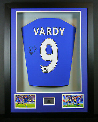 Jamie Vardy Leicester Signed Shirt Framed Display With Coa