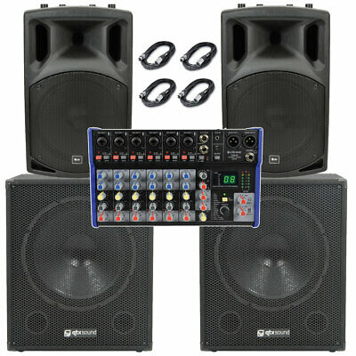 Qtx 2000W 10 Channel Active Live Band Pa System With Usb Mixer