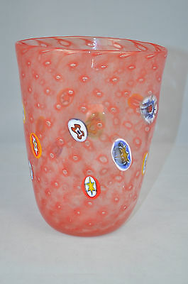 "MURANO Art Glass Red Vase Murrine Controlled Bubbles Gambaro and Poggi  8""  New"