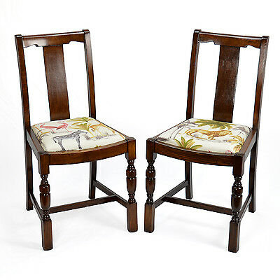 A Pair Of Restored 1940s Art Deco Oak Chairs