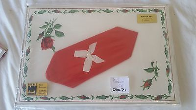 Vintage Double MM 4 Place Mats & Napkins Set Suedette Backed Swiss Rose Red MIB