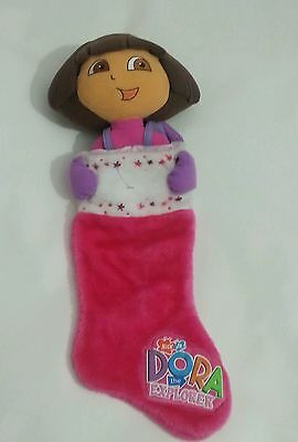 "Dora The Explorer Plush Holiday Christmas Stocking - Pink - Nick Jr 23"" Mint"